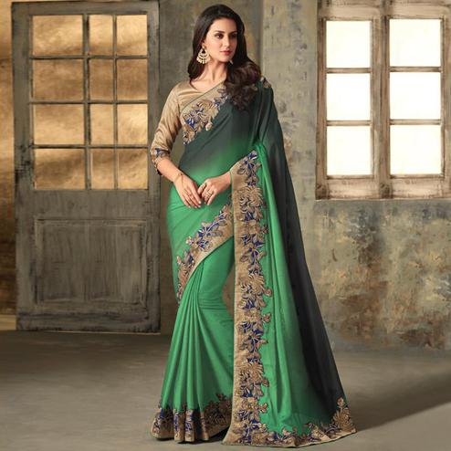 Starring Green Colored Partywear Embroidered Art Silk Saree