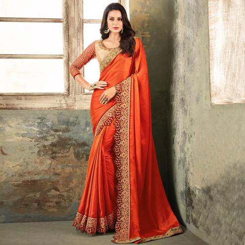 Fantastic Orange Colored Partywear Embroidered Art Silk Saree