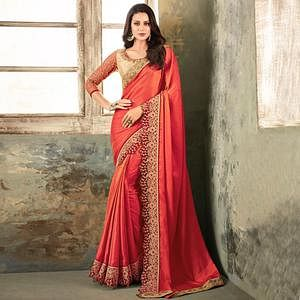 Exceptional Coral Red Colored Partywear Embroidered Art Silk Saree