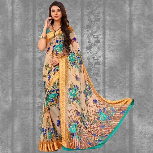 Arresting Cream-Green Colored Casual Printed Chiffon Saree