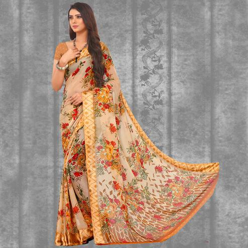 Amazing Cream-Orange Colored Casual Printed Chiffon Saree