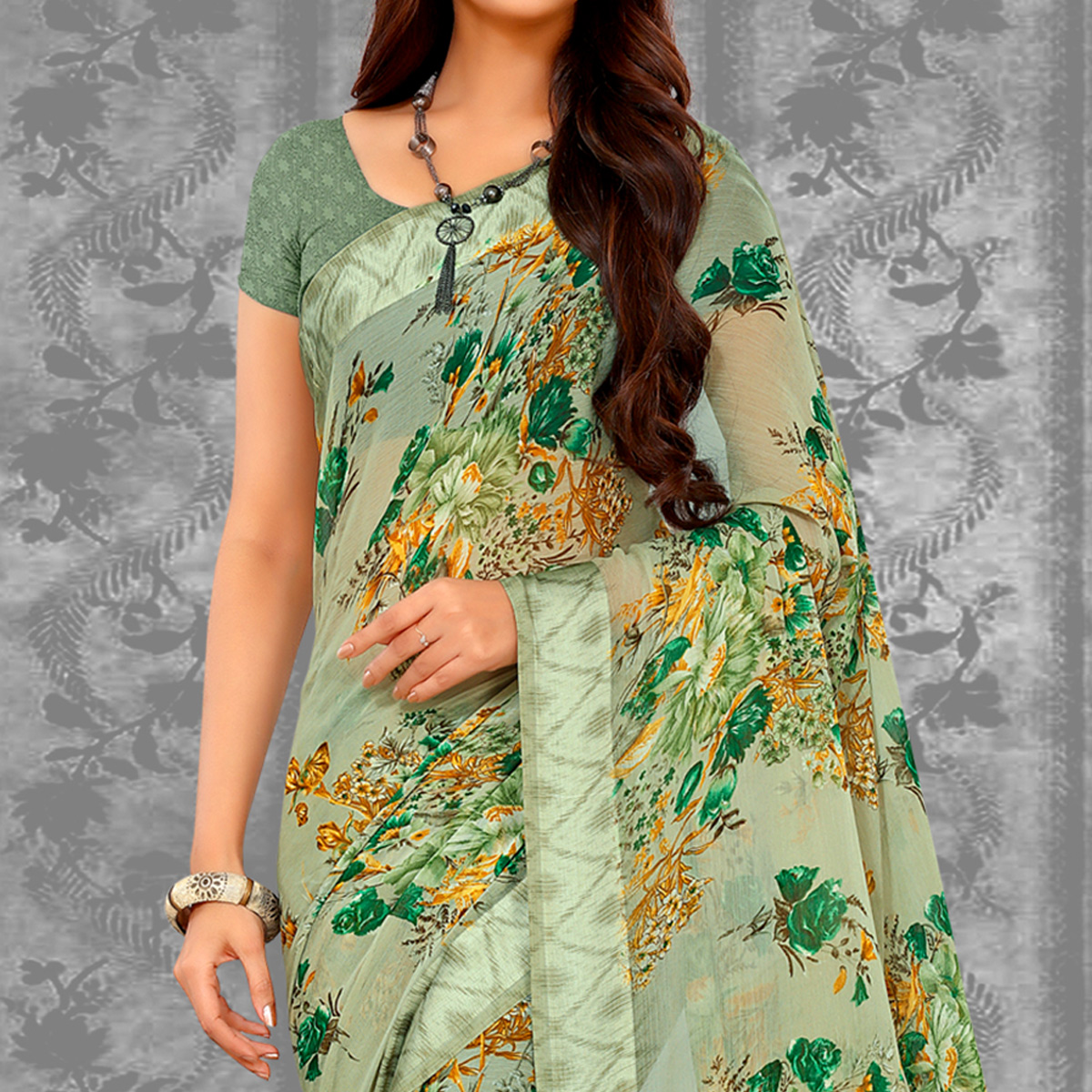 Trendy Pastel Olive Green Color Colored Casual Printed Chiffon Saree