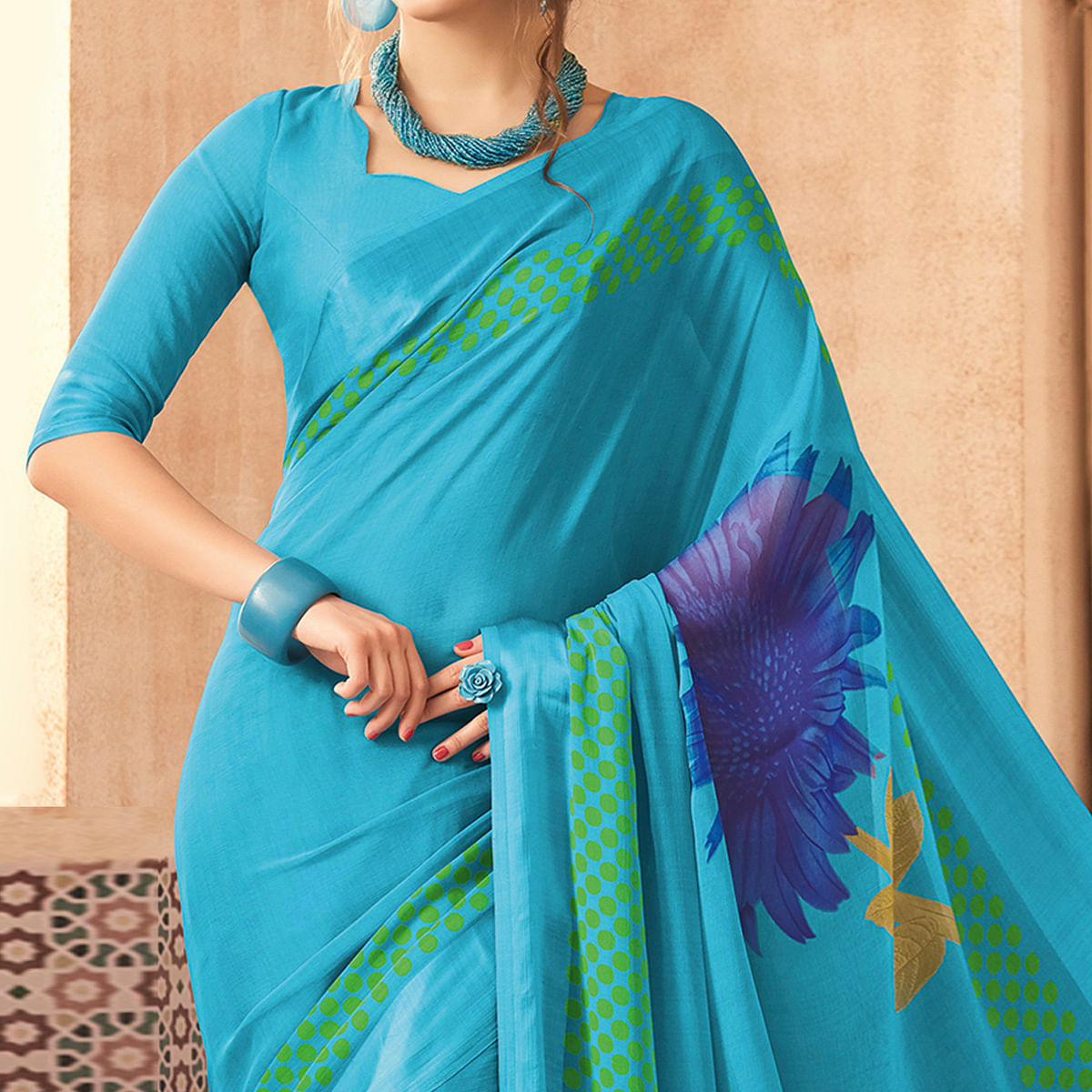 Flattering Sky Blue Colored Casual Printed Chiffon Saree