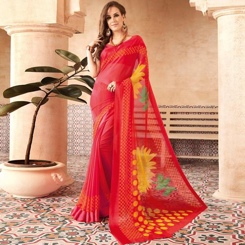 Charming Red Colored Casual Printed Chiffon Saree