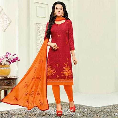 Hot Red Designer Embroidered Partywear Jacquard Salwar Suit