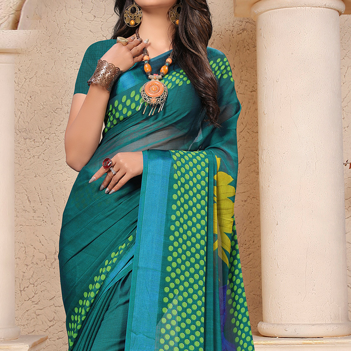 Opulent Teal Green Colored Casual Printed Chiffon Saree
