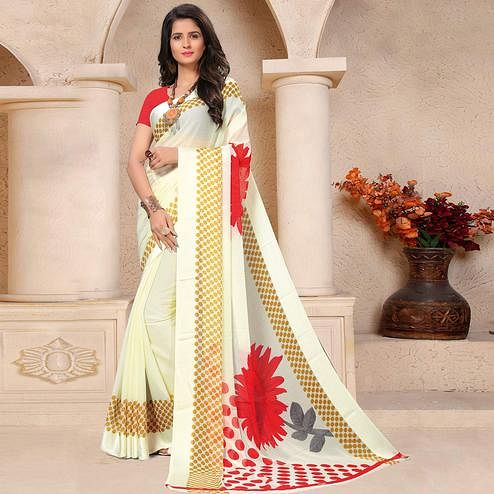 Entrancing Cream Colored Casual Printed Chiffon Saree