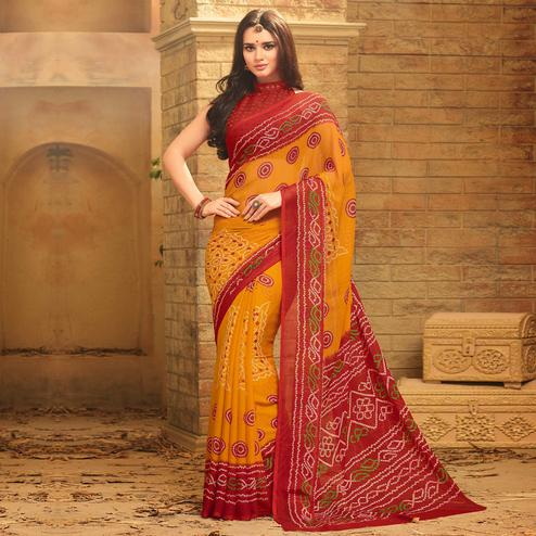 Elegant Mustard Yellow Colored Casual Wear Printed Chiffon Saree