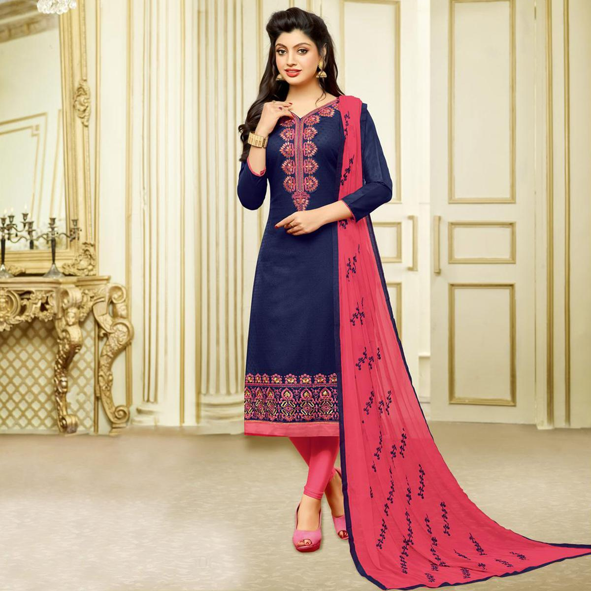 f5b396b94e Buy Fabulous Navy Designer Embroidered Partywear Jacquard Salwar Suit Online  India, Best Prices, Reviews - Peachmode