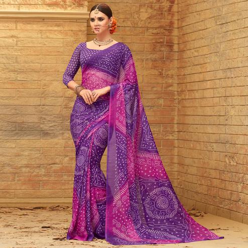 Impressive Purple - Pink Colored Casual Wear Printed Chiffon Saree