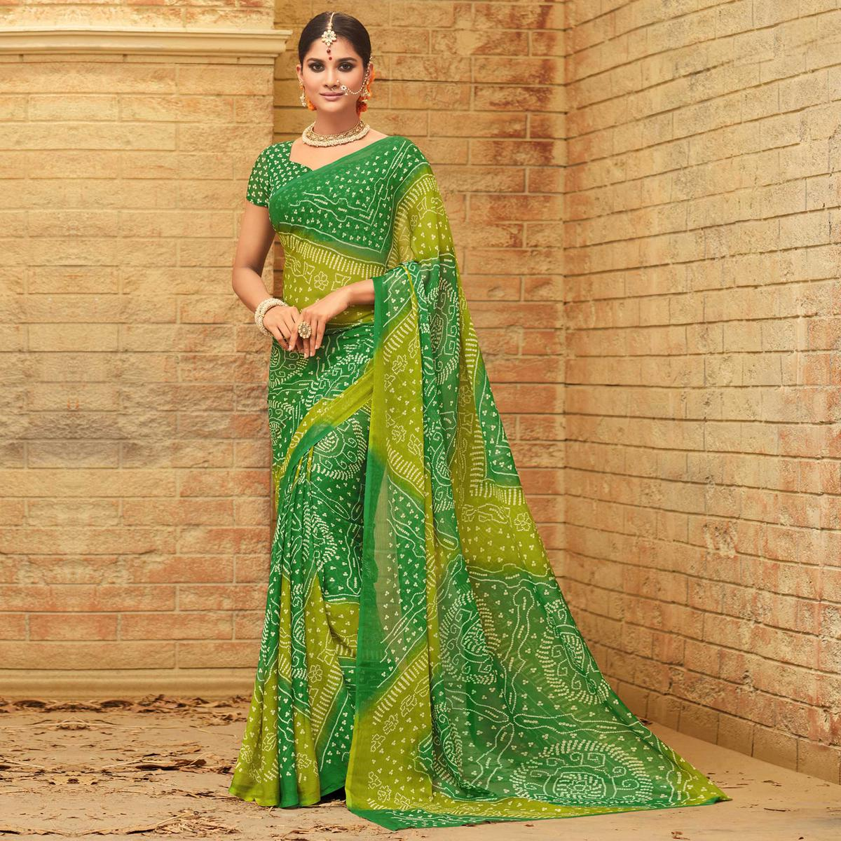 Flamboyant Green Colored Casual Wear Printed Chiffon Saree