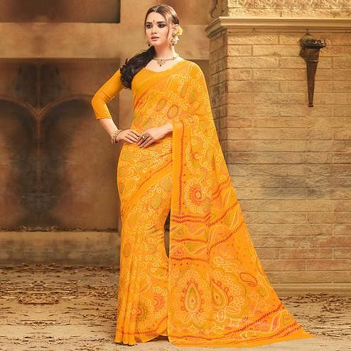 Ethnic Yellow Colored Casual Wear Printed Chiffon Saree