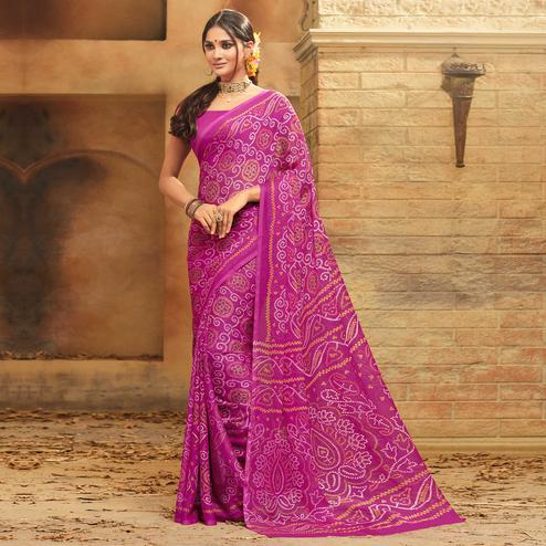 Alluring Magenta Pink Colored Casual Wear Printed Chiffon Saree