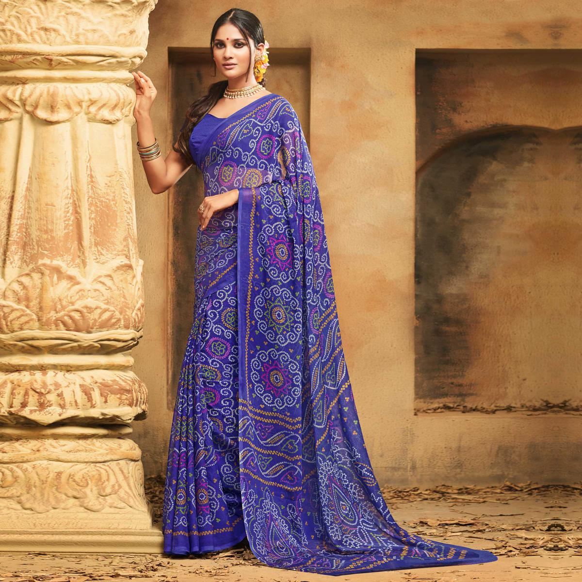 Sensational Blue Colored Casual Wear Printed Chiffon Saree