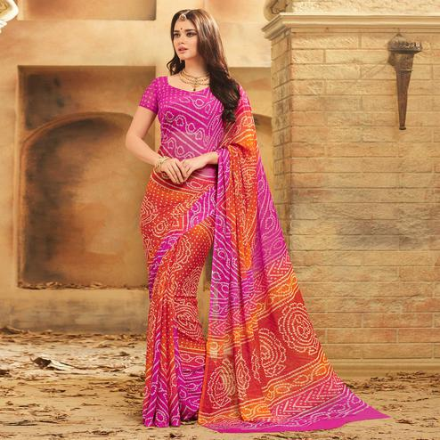 Dazzling Pink - Orange Colored Casual Wear Printed Chiffon Saree