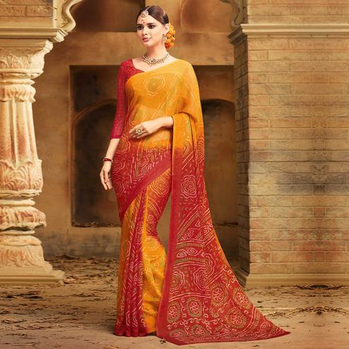 Adorning Yellow - Red Colored Casual Wear Printed Chiffon Saree