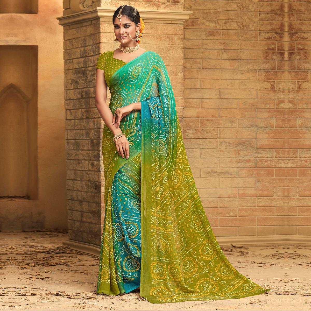 Groovy Blue - Green Colored Casual Wear Printed Chiffon Saree
