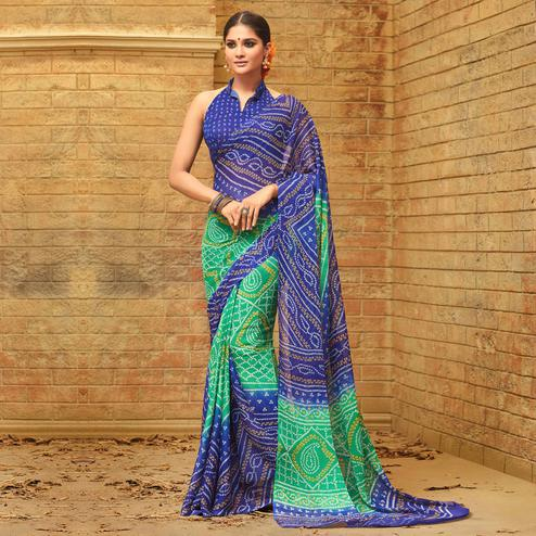Capricious Green - Blue Colored Casual Wear Printed Chiffon Saree