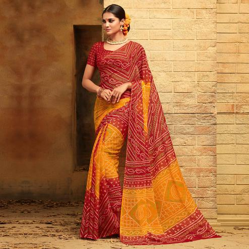 Prominent Yellow - Maroon Colored Casual Wear Printed Chiffon Saree