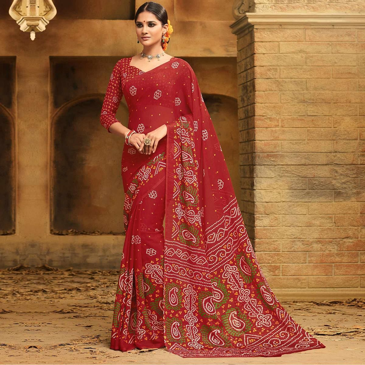 Innovative Red Colored Casual Wear Printed Chiffon Saree
