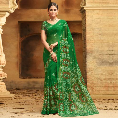Fantastic Green Colored Casual Wear Printed Chiffon Saree