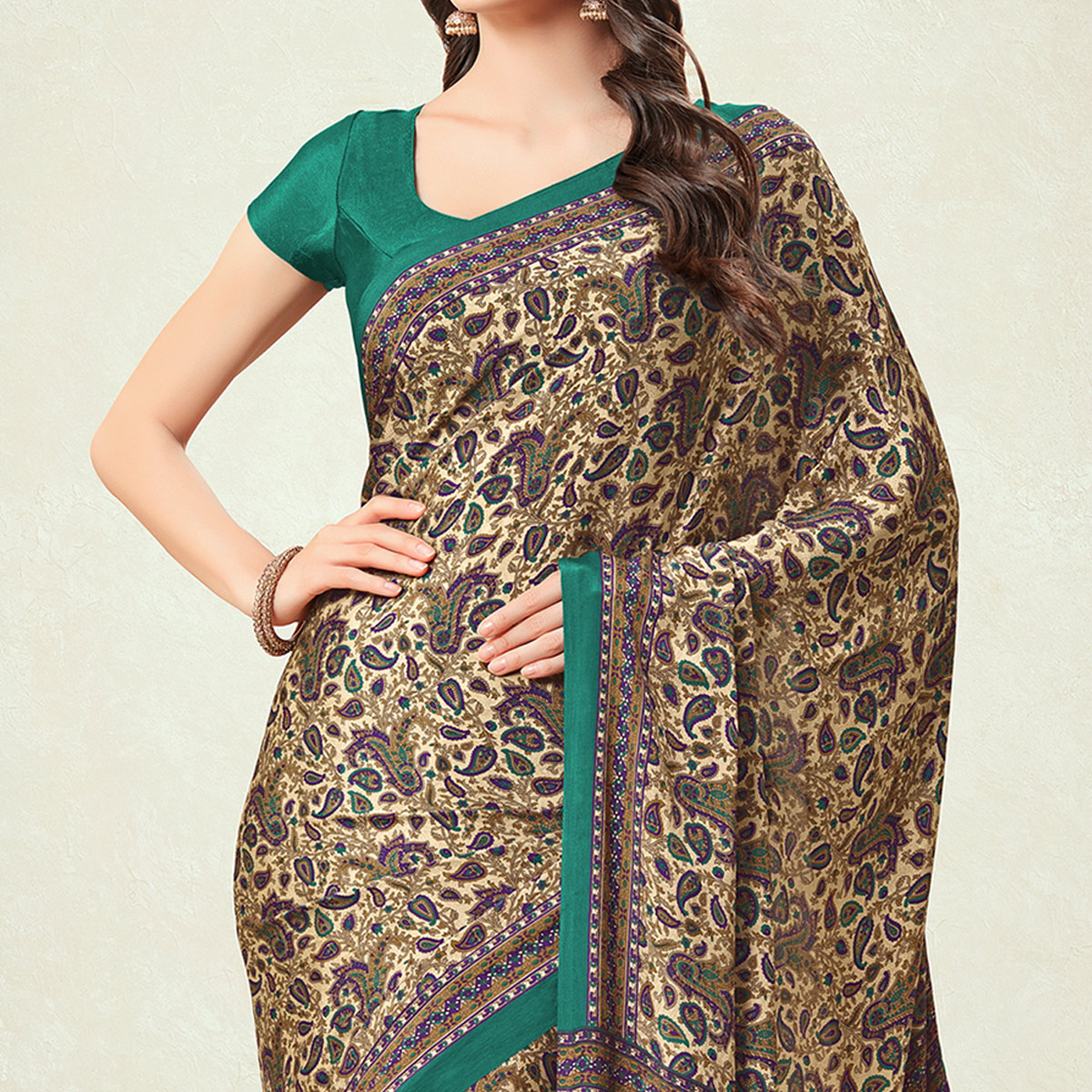 Pleasant Beige-Green Colored Casual Printed Crepe Saree