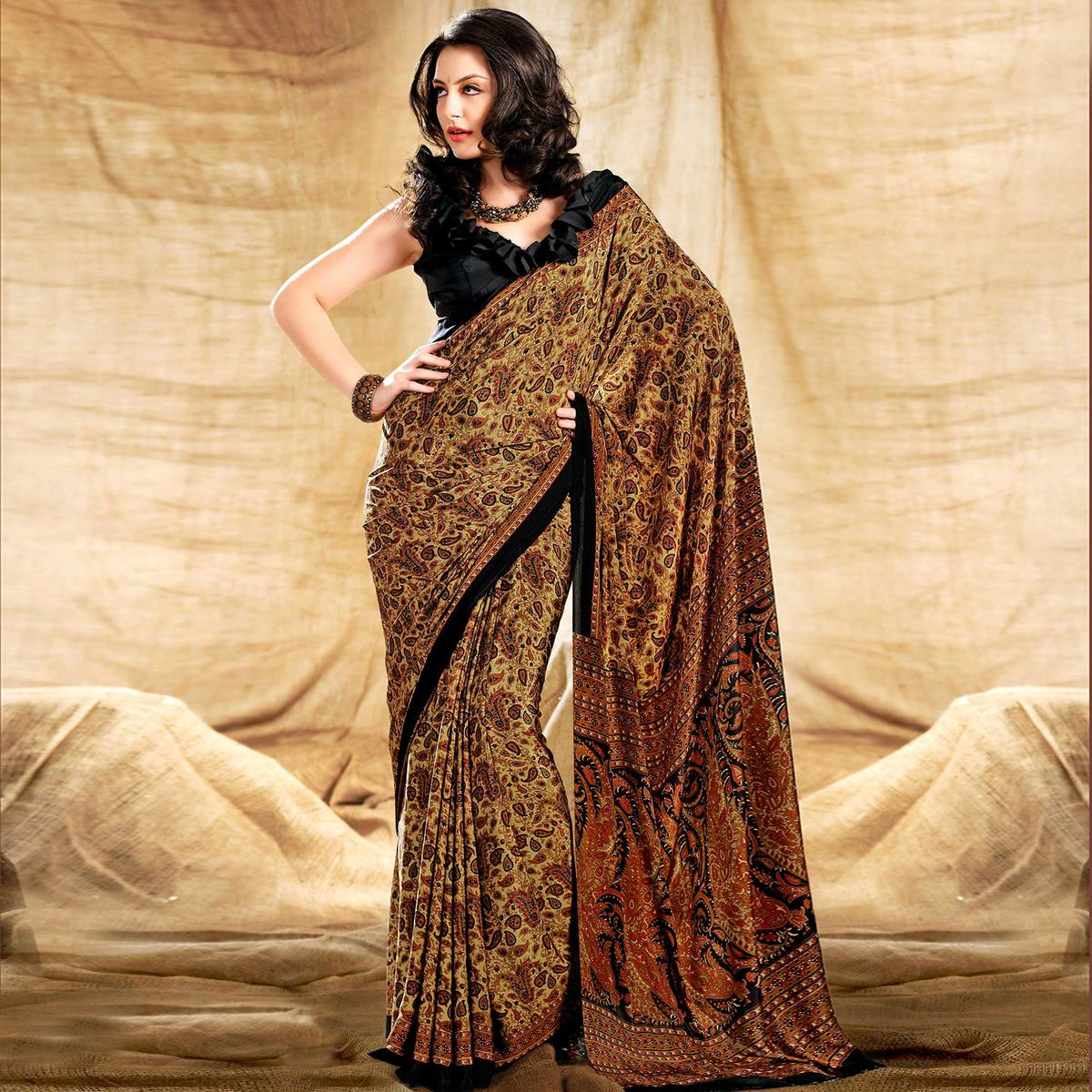 Opulent Beige-Black Colored Casual Printed Crepe Saree