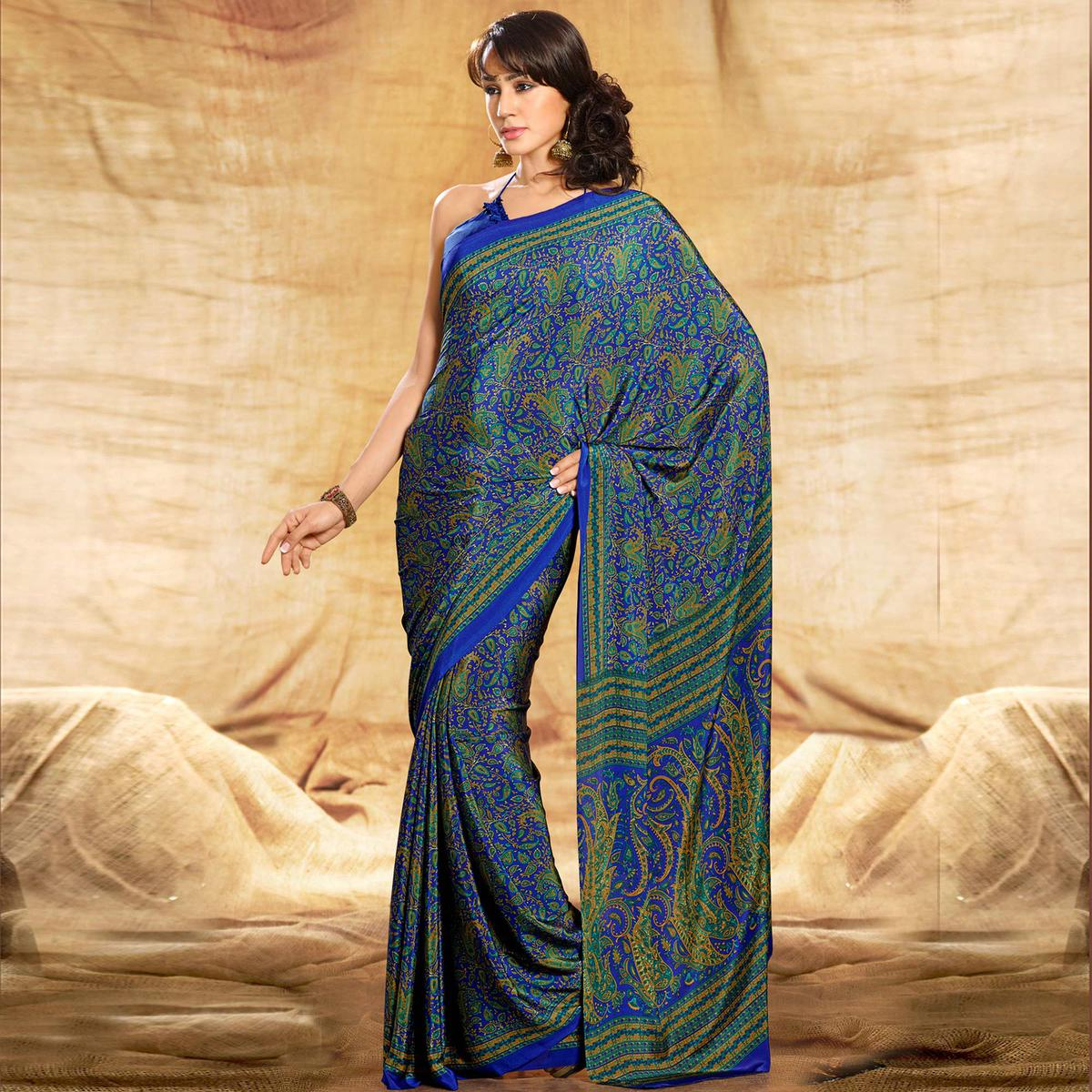 Energetic Blue Colored Casual Printed Crepe Saree