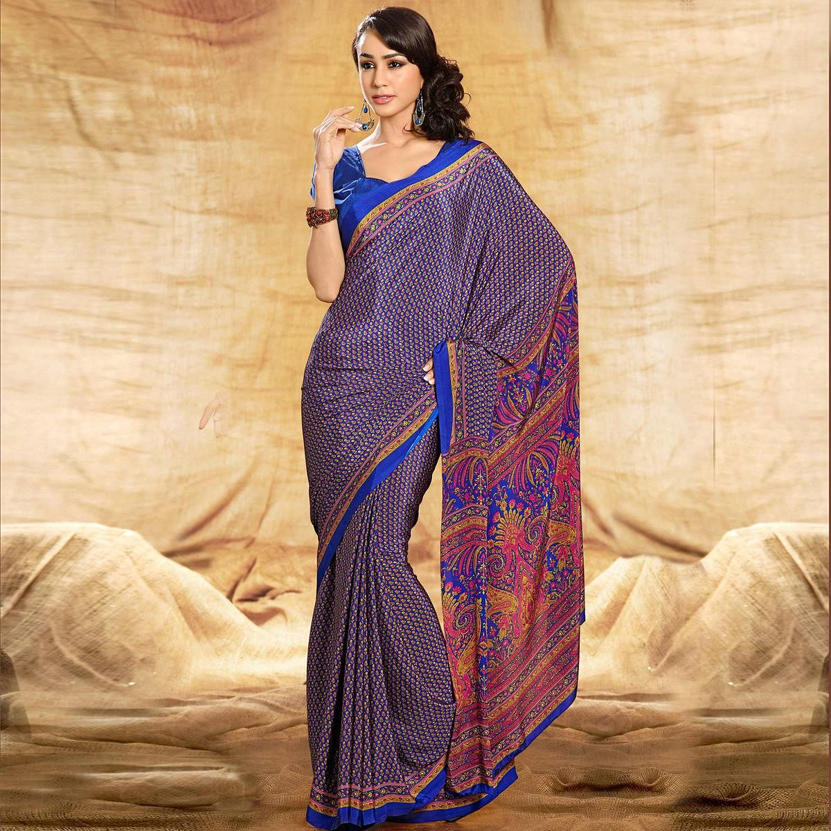 Glowing Blue Colored Casual Printed Crepe Saree