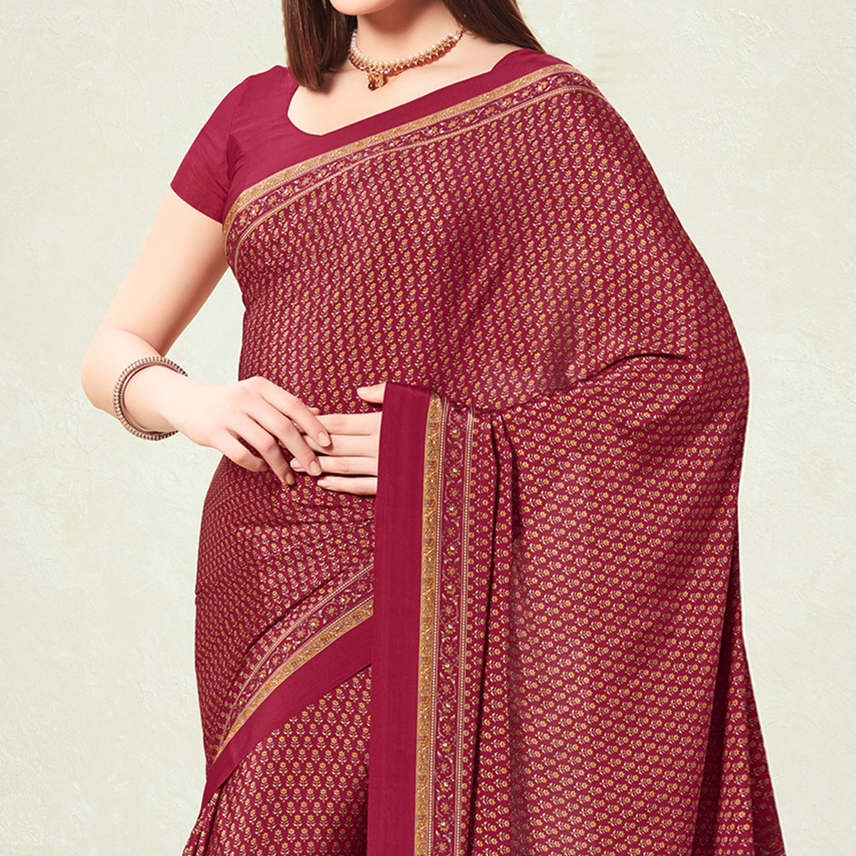 Mesmeric Maroon Colored Casual Printed Crepe Saree
