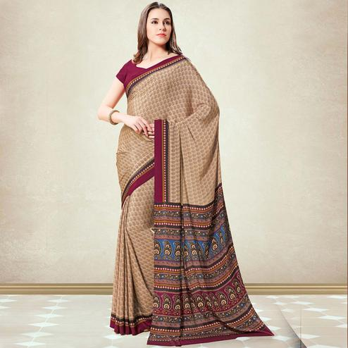 Refreshing Chikoo Colored Casual Printed Crepe Saree