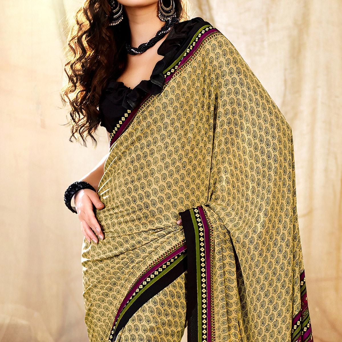 Magnetic Beige-Green Colored Casual Printed Crepe Saree