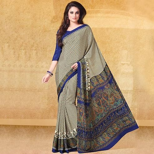 Hypnotic Off white - Blue Colored Casual Printed Crepe Saree
