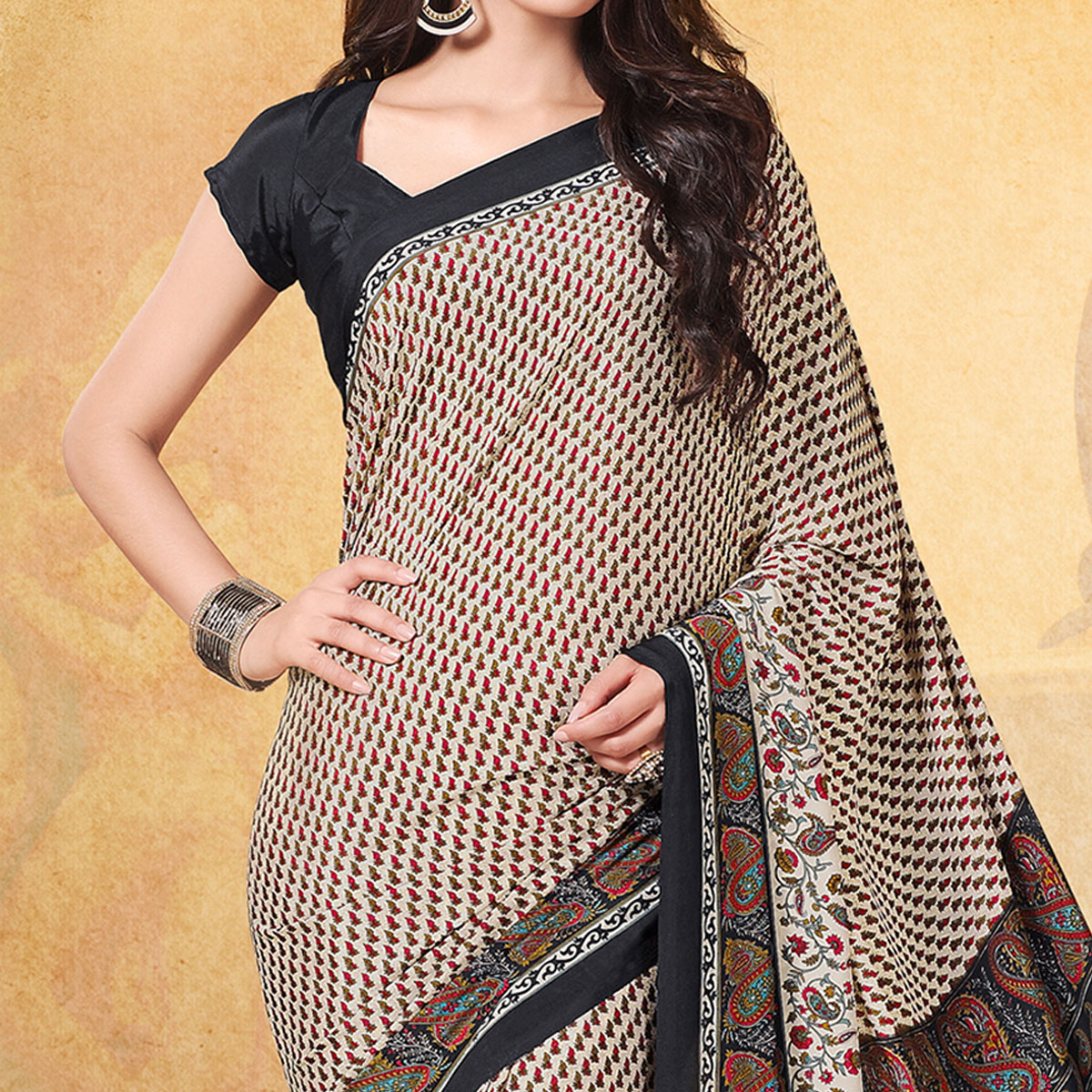 Excellent Off White - Black Colored Casual Printed Crepe Saree