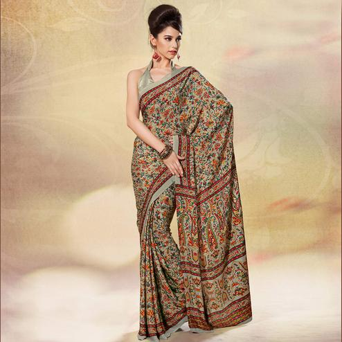 Breathtaking Grey Colored Casual Printed Crepe Saree
