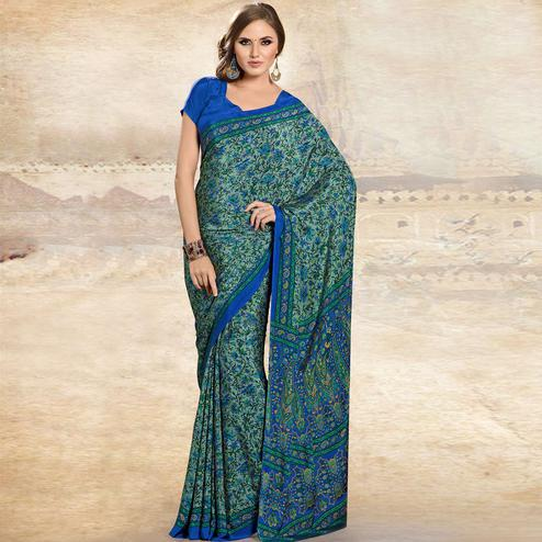 Impressive Turquoise Green Colored Casual Printed Crepe Saree