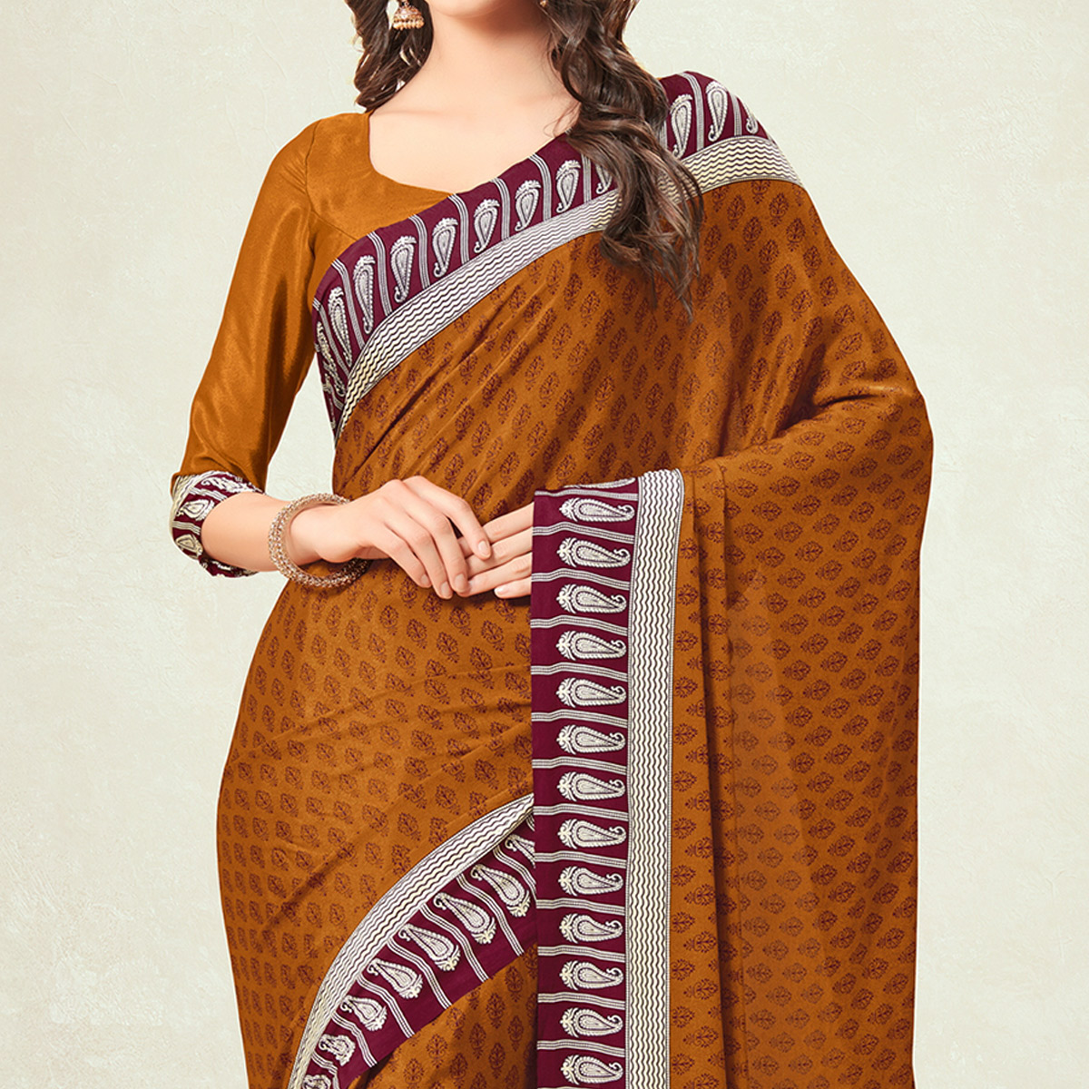 Flamboyant Rust Orange Colored Casual Printed Crepe Saree