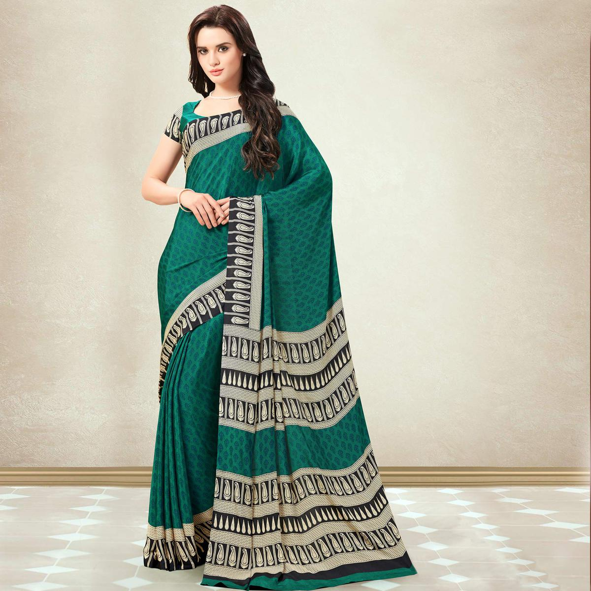 Ethnic Turquoise Green Colored Casual Printed Crepe Saree