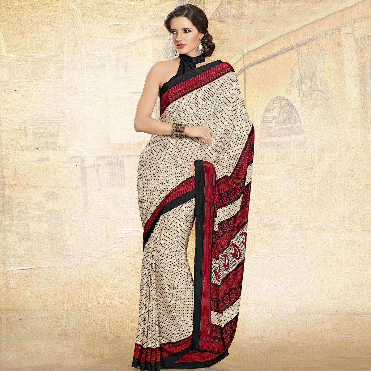 Alluring Cream-Red Colored Casual Printed Crepe Saree