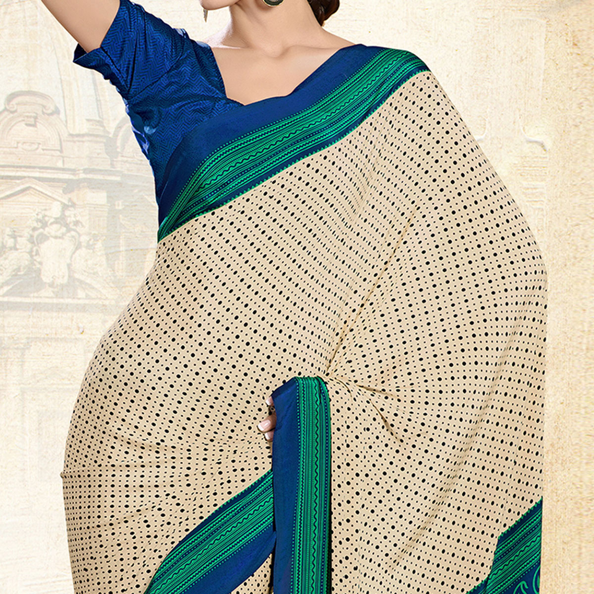 Sensational Cream-Green Colored Casual Printed Crepe Saree