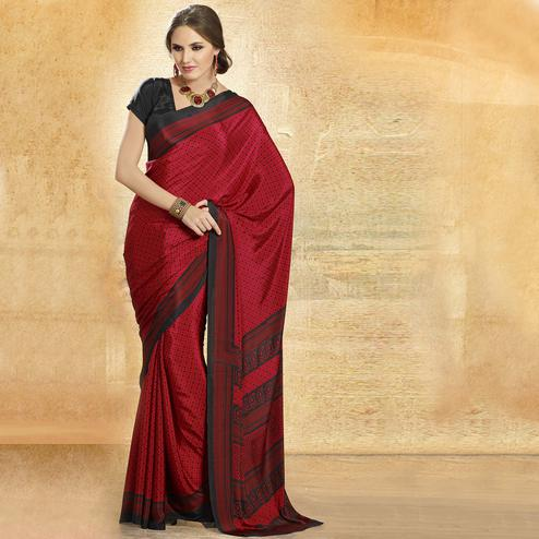 Flaunt Maroon Colored Casual Printed Crepe Saree