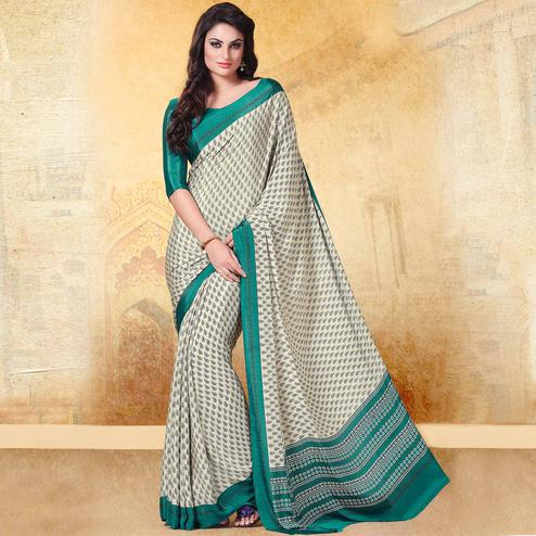 Glorious Off White - Green Colored Casual Printed Crepe Saree