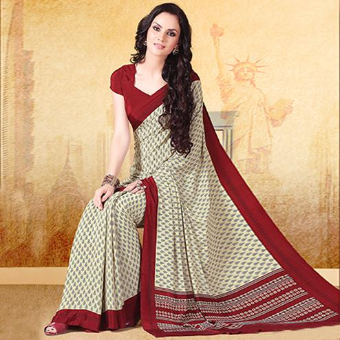Gorgeous Off White - Maroon Colored Casual Printed Crepe Saree