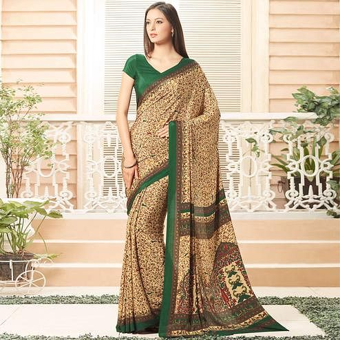 Graceful Beige Colored Casual Printed Crepe Saree