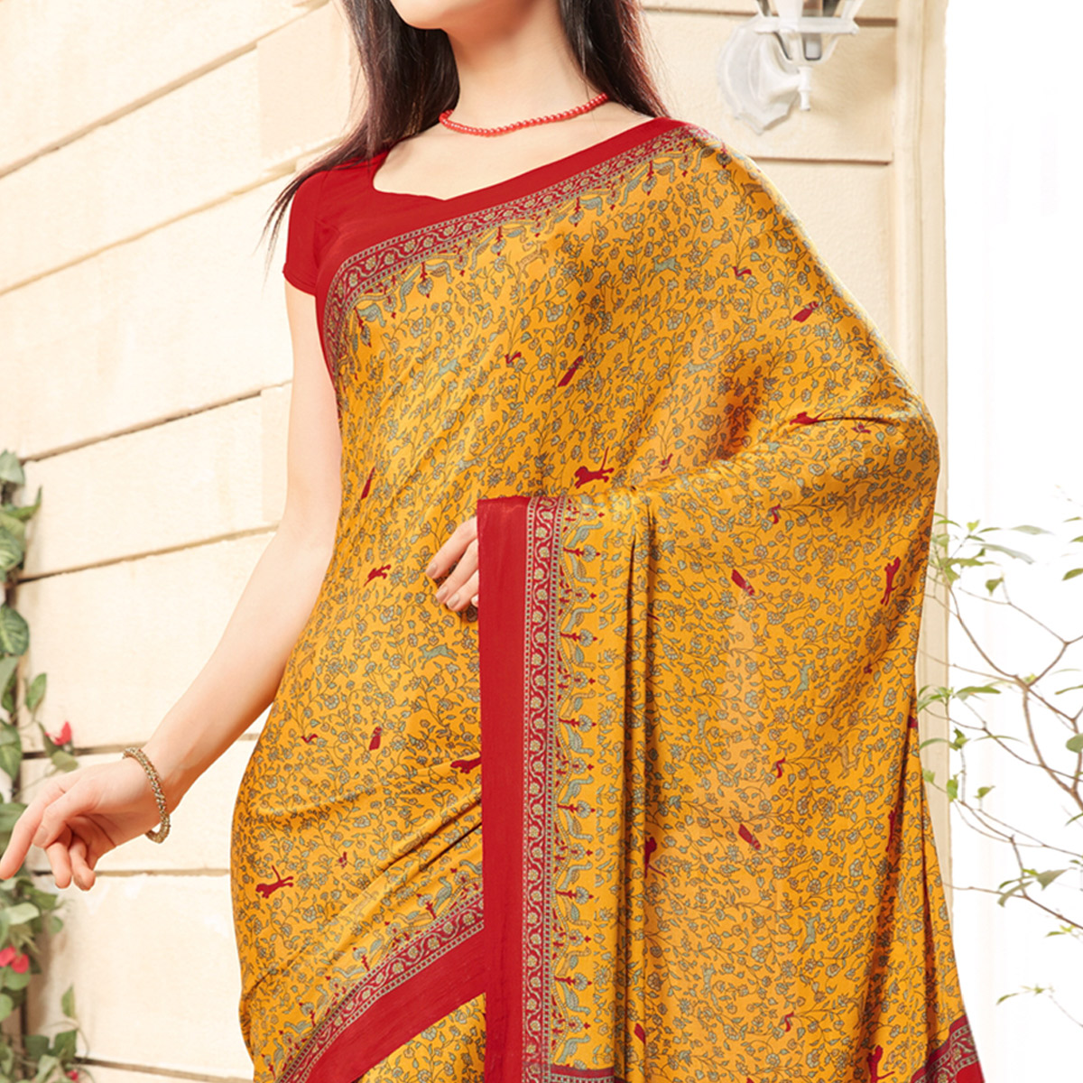 Ideal Mustard Yellow Colored Casual Printed Crepe Saree