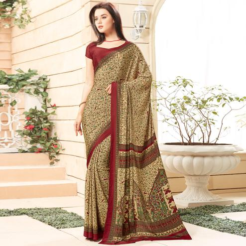 Imposing Beige Colored Casual Printed Crepe Saree