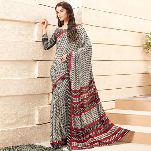 Majesty Off White - Black Colored Casual Printed Crepe Saree
