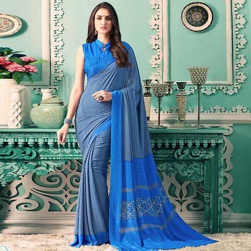 Marvellous Blue Colored Casual Printed Crepe Saree