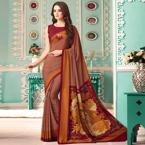 Preferable Maroon Colored Casual Printed Crepe Saree