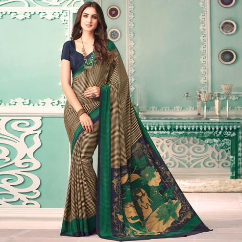 Pretty Cream - Green Colored Casual Printed Crepe Saree